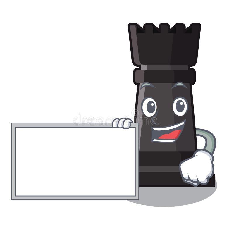 Mit Brettturmschachspielwaren über Karikaturtabelle vektor abbildung