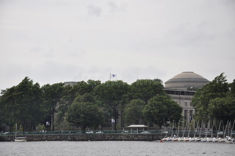 Cambridge, 30th June: MIT from Cambridge Town seen from Charles river in Massachusettes state of USA. MIT from Cambridge Town seen from Charles river in royalty free stock image
