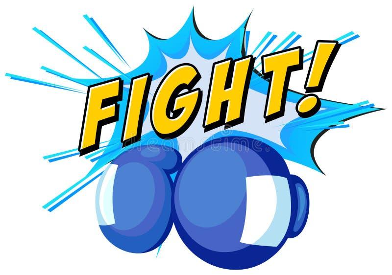 Mit del boxeo y lucha de la palabra ilustración del vector