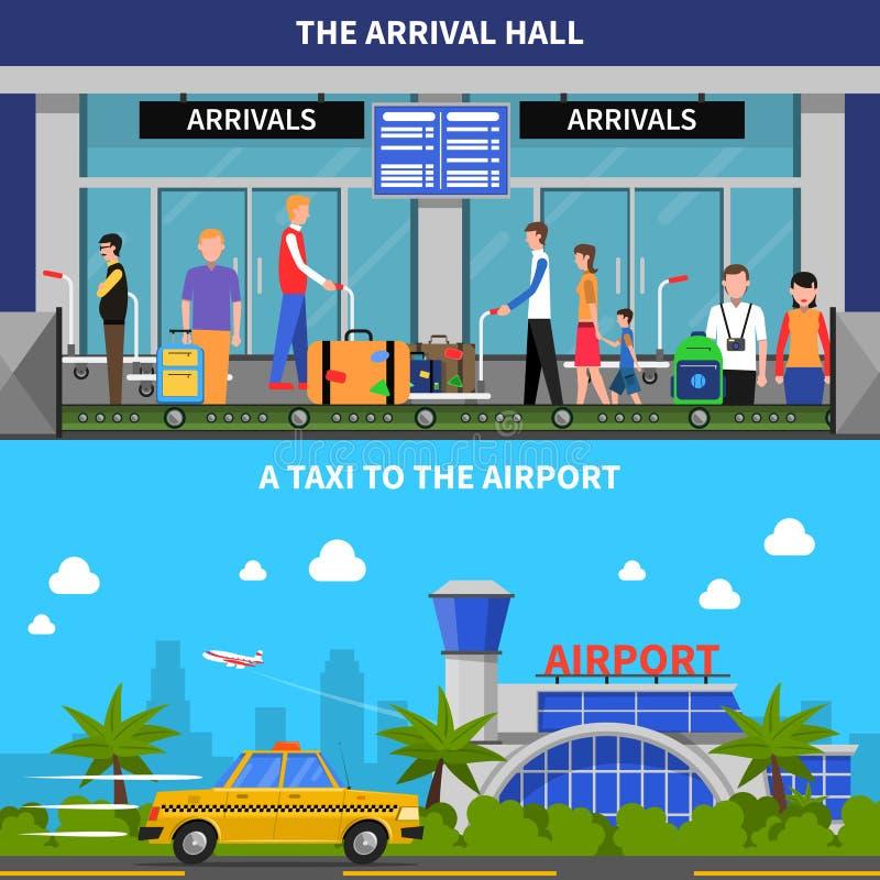 Mit dem Flugzeug reisen Fahnen eingestellt lizenzfreie abbildung