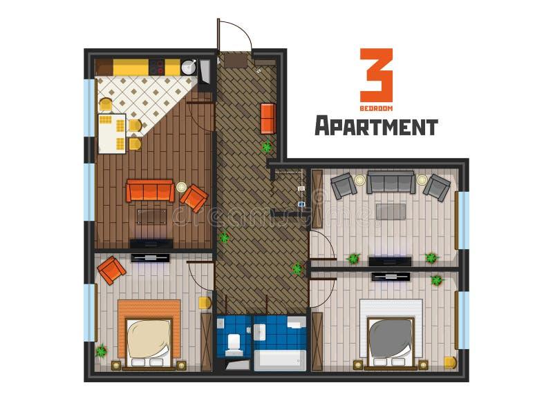 Mit drei Schlafzimmern Draufsicht des geräumigen Wohnungsprojektes stock abbildung