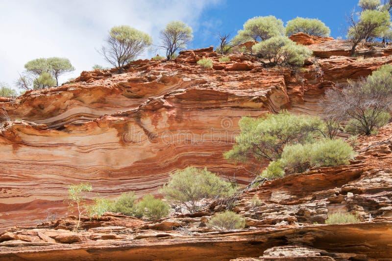 Mit einem Band versehener Sandstein: Kalbarri-Klippen lizenzfreie stockfotografie