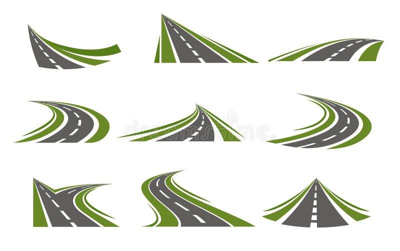 Mit einem Zirkumflex versehene Straßen Logo Set stock abbildung