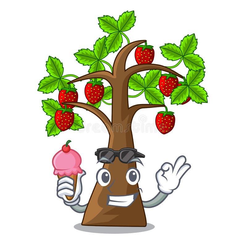 Mit Eiscreme-Erdbeerbaum in den Maskottchentöpfen vektor abbildung