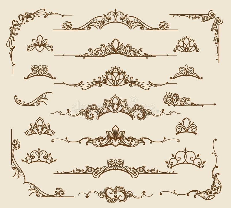 Mit Filigran geschmückte Gestaltungselemente des königlichen Victorian stock abbildung