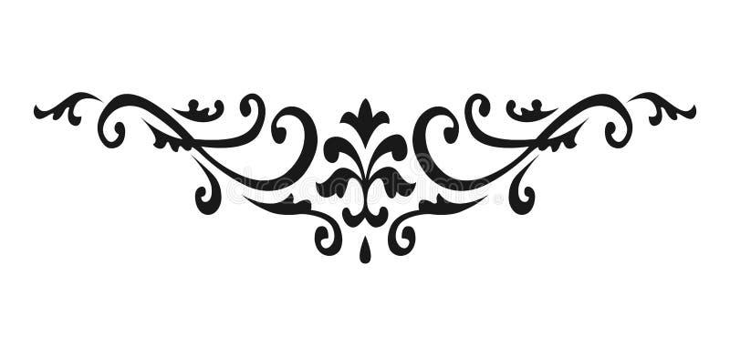 Mit Filigran geschmückte swirly Verzierungen Viktorianische Ornamentalstrudel und einfache Linien Rollen Dekorative Kalligraphiev lizenzfreie abbildung
