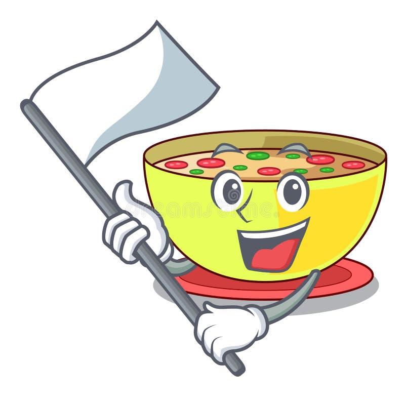 Mit FlaggenMaiseintopf in einer Karikaturplatte lizenzfreie abbildung