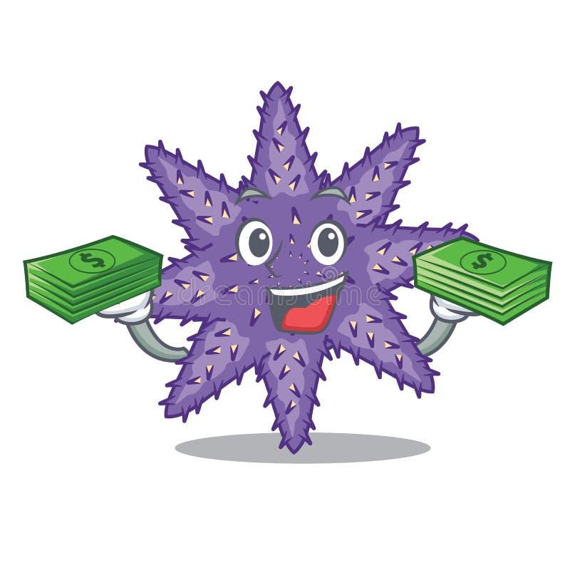 Mit Geldtasche purpurroten Starfish in der Zeichenform lizenzfreie abbildung