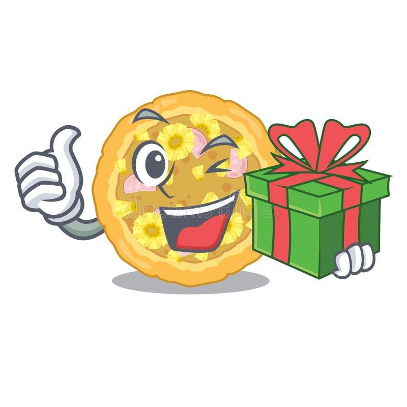 Mit Geschenkhawaiianer wird Pizza Karikaturplatten gedient stock abbildung