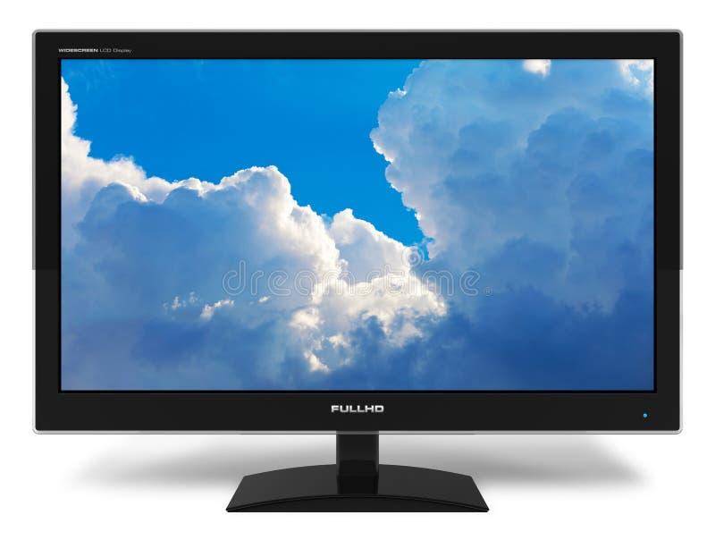 Mit großem Bildschirm TFT Bildschirmanzeige mit blauem Himmel lizenzfreie abbildung