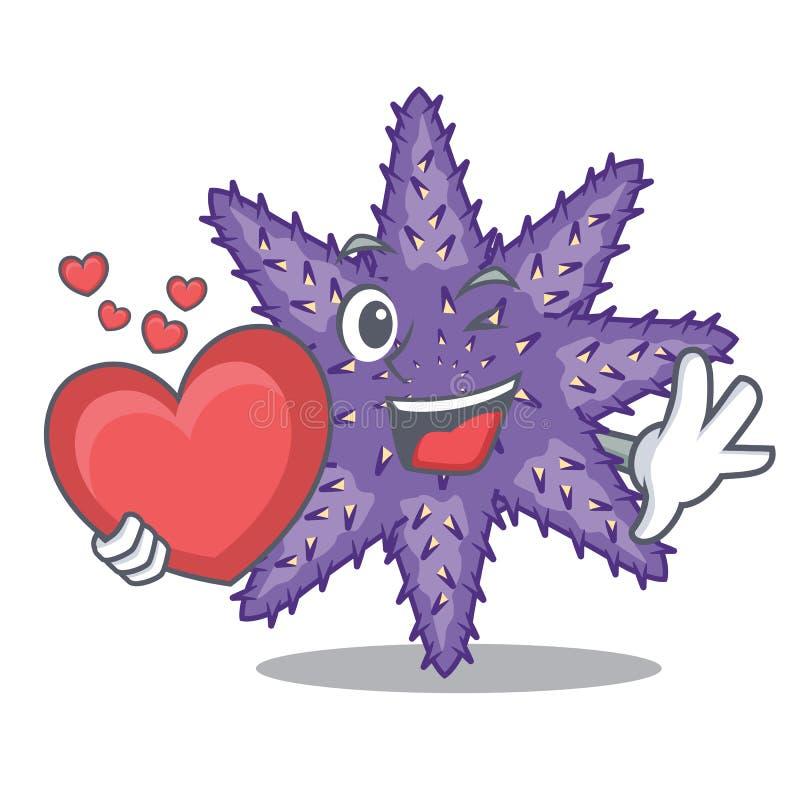 Mit Herz purpurroten Starfish in der Zeichenform lizenzfreie abbildung