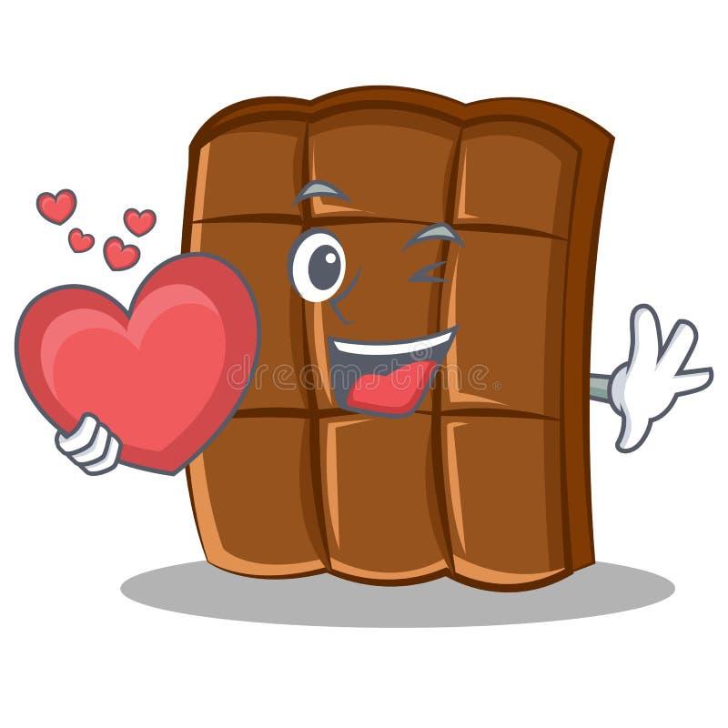 Mit Herzschokoladencharakter-Karikaturart vektor abbildung