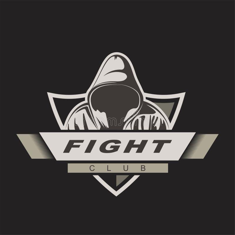 Mit Kapuze Mann Mischungskampf-Logoschablone Kampfvereinaufkleber Meuchelmörderspielmaskottchen stock abbildung