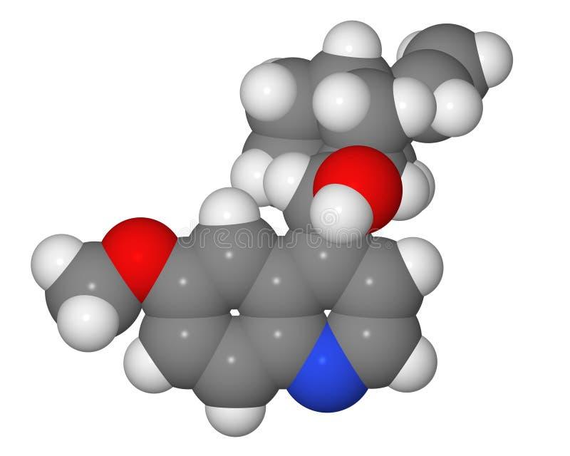 Mit Leerstellen füllendes Baumuster des Quininmoleküls lizenzfreies stockbild