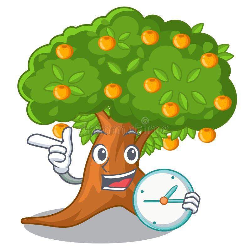 Mit Orangenbaum der Uhr in der Zeichenform vektor abbildung