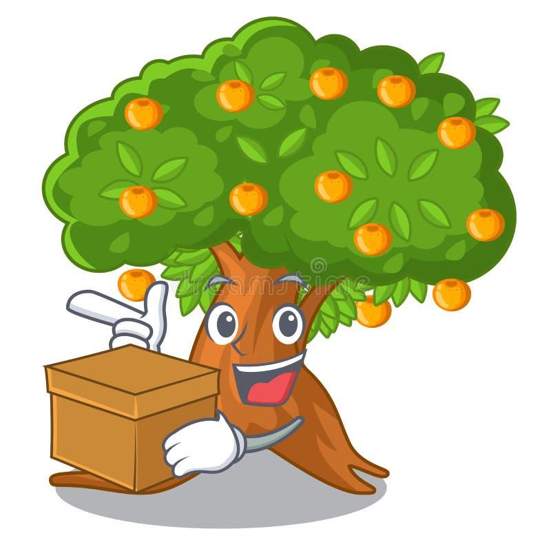 Mit Orangenbaum des Kastens in der Zeichenform stock abbildung
