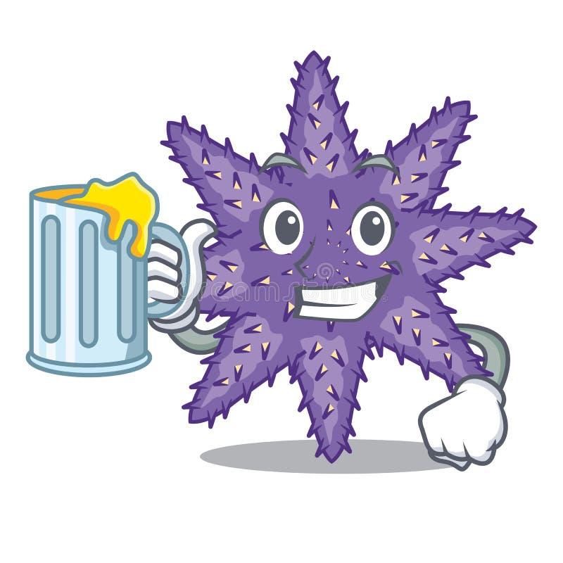 Mit Saft purpurroten Starfish in der Zeichenform stock abbildung
