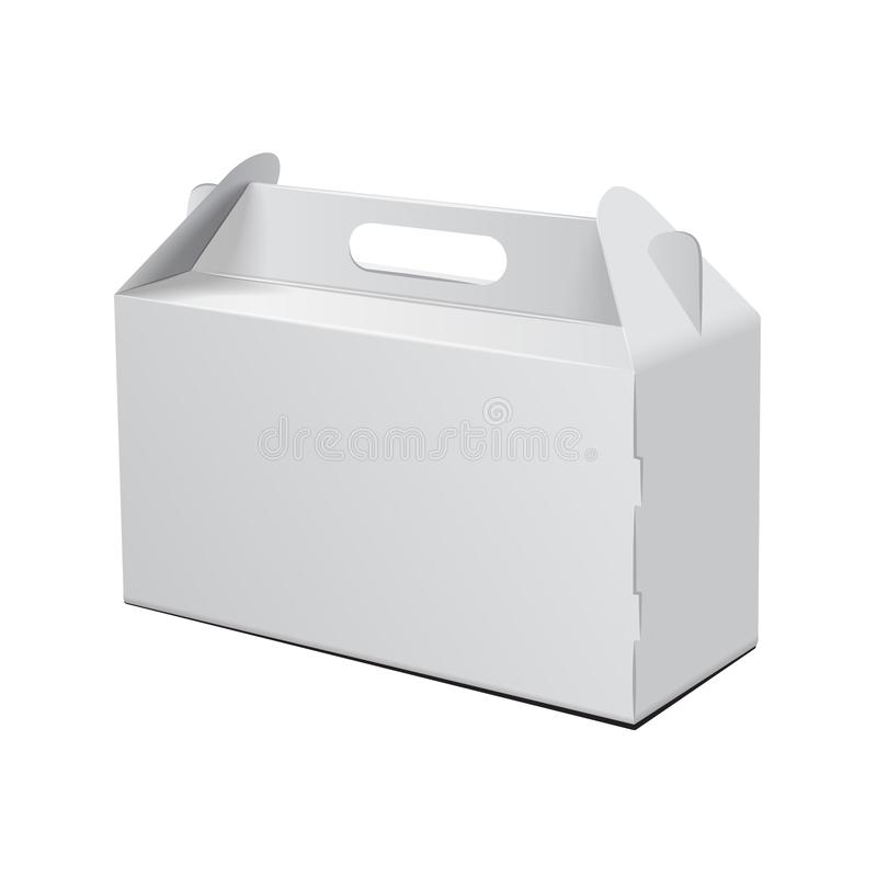 Mit Schatten und getrennt auf Weiß Für Schnellimbiß, Kuchen, Geschenk, usw. Carry Packaging Vektormodell Weiße Schablone des Pake stock abbildung