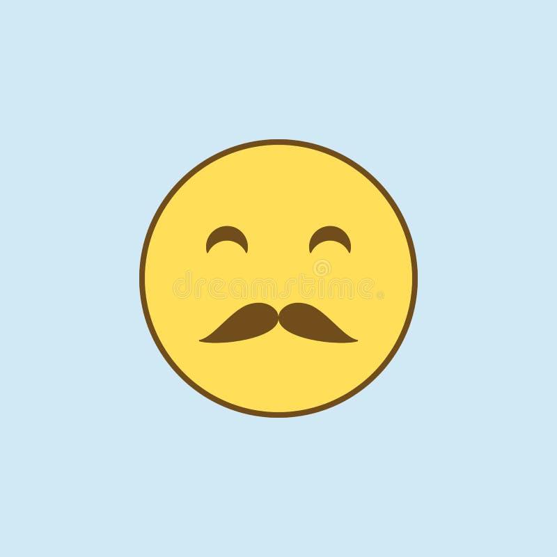 mit Schnurrbart 2 farbige Linie Ikone Einfache gelbe und braune Elementillustration mit Schnurrbart Konzeptentwurfs-Symboldesign  lizenzfreie abbildung