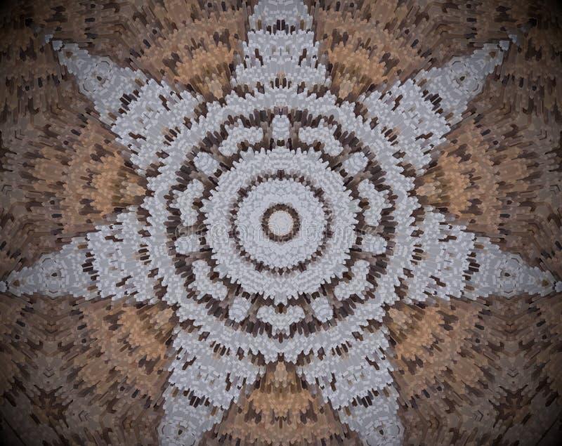 7 mit Seiten versehene Sternform verdrängte Mandala lizenzfreie abbildung