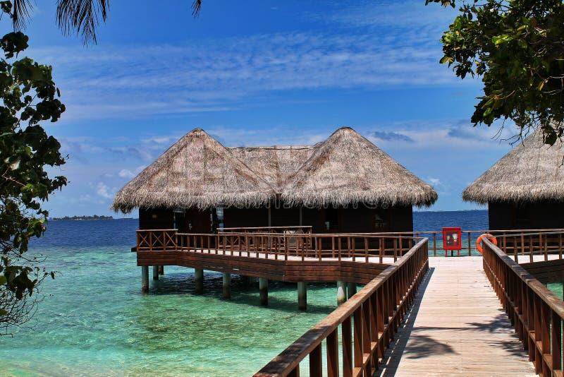 Mit Stroh gedeckte Überwasserhütten mit Anlegestelle in den Malediven lizenzfreie stockfotografie