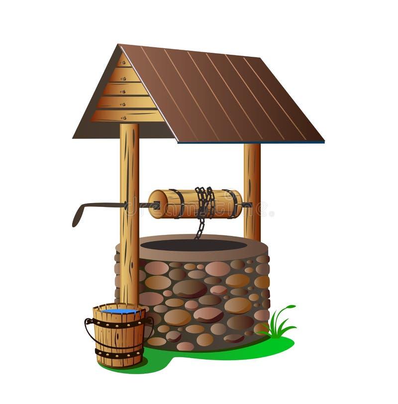 Mit Trinkwasserbrunnen lizenzfreie abbildung