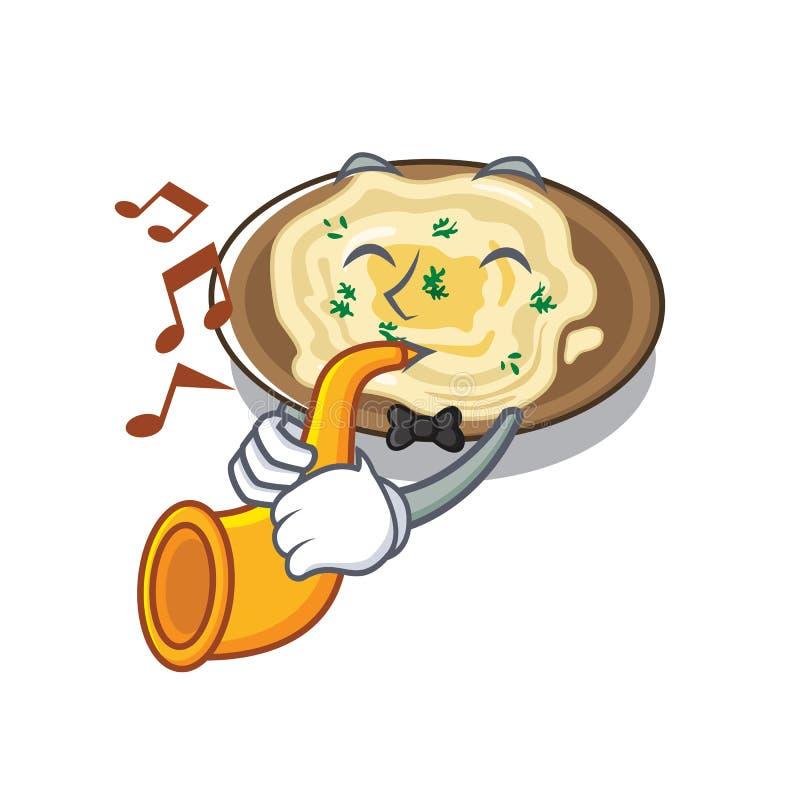 Mit Trompete hummus auf der a-Karikaturplatte stock abbildung