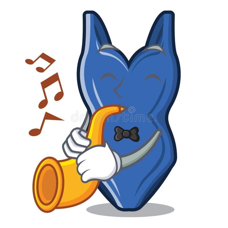 Mit Trompetenkarikaturbadeanzug in der a-Tasche stock abbildung