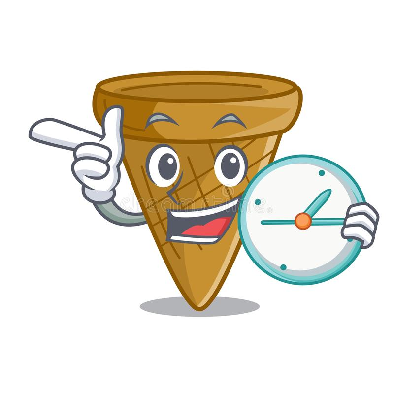 Mit Uhrkarikatur-Eiscreme-Oblatenkegel stock abbildung