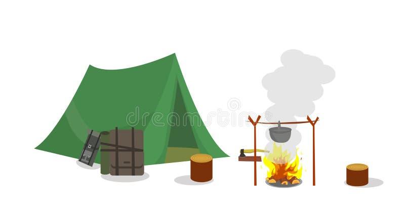 Mit Zelt und Nachtaufenthalt an den Wochenenden kampieren vektor abbildung