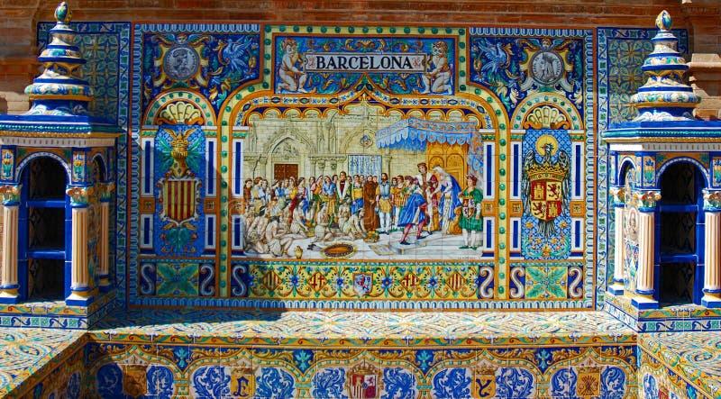 Mit Ziegeln gedeckte Nische von Barcelona stockfoto