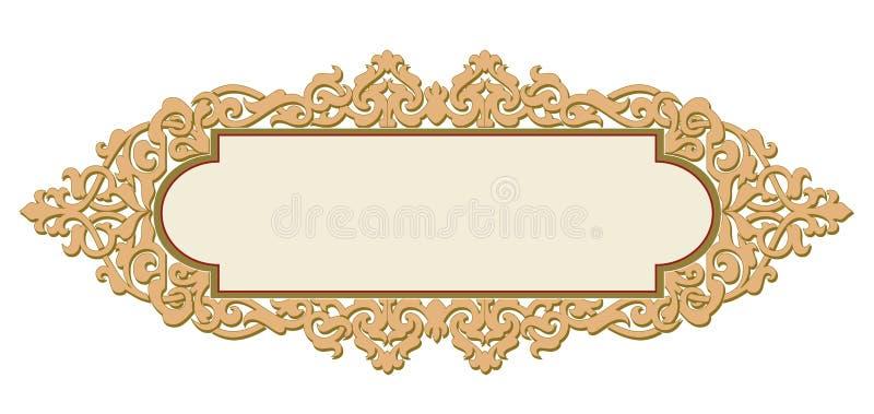 Mit Ziegeln gedeckter Rahmen in Pflanzenblätter-und Blumen-Rahmen-dekorativem elegantem lizenzfreie abbildung