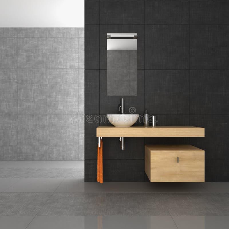 Mit Ziegeln gedecktes Badezimmer mit hölzernen Möbeln stockfoto