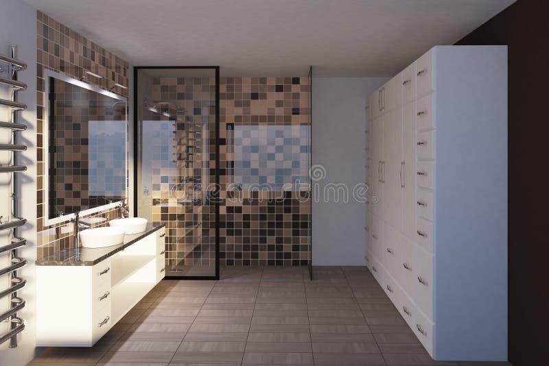 Mit Ziegeln gedecktes beige Badezimmer, doppelte Wanne, Seitenansicht stock abbildung