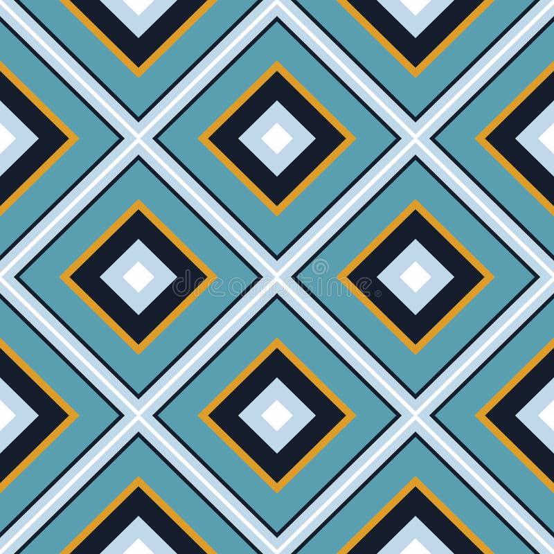 Mit Ziegeln gedecktes nahtloses Muster des geometrischen Vektors der Raute Gestreiftes elegantes lizenzfreie abbildung