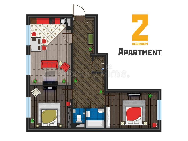 Mit zwei Schlafzimmern Draufsicht des geräumigen Wohnungsprojektes vektor abbildung