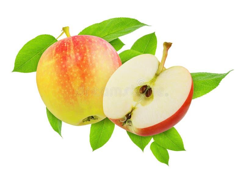 Mitad de Apple y de la fruta para el diseño de paquete Apple y rebanada rojos amarillos enteros con las hojas verdes aisladas en fotografía de archivo libre de regalías