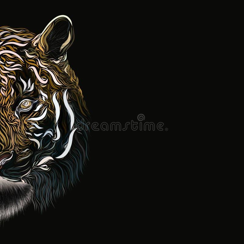 Mitad de la cabeza de un tigre majestuoso en un fondo oscuro, modelo creativo ilustración del vector