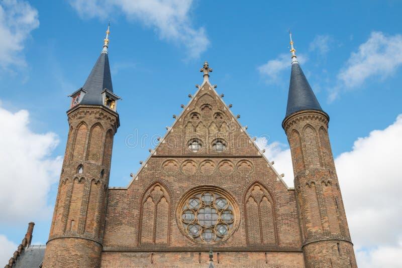 Mitad superior de la fachada el Pasillo de caballeros en La Haya imágenes de archivo libres de regalías