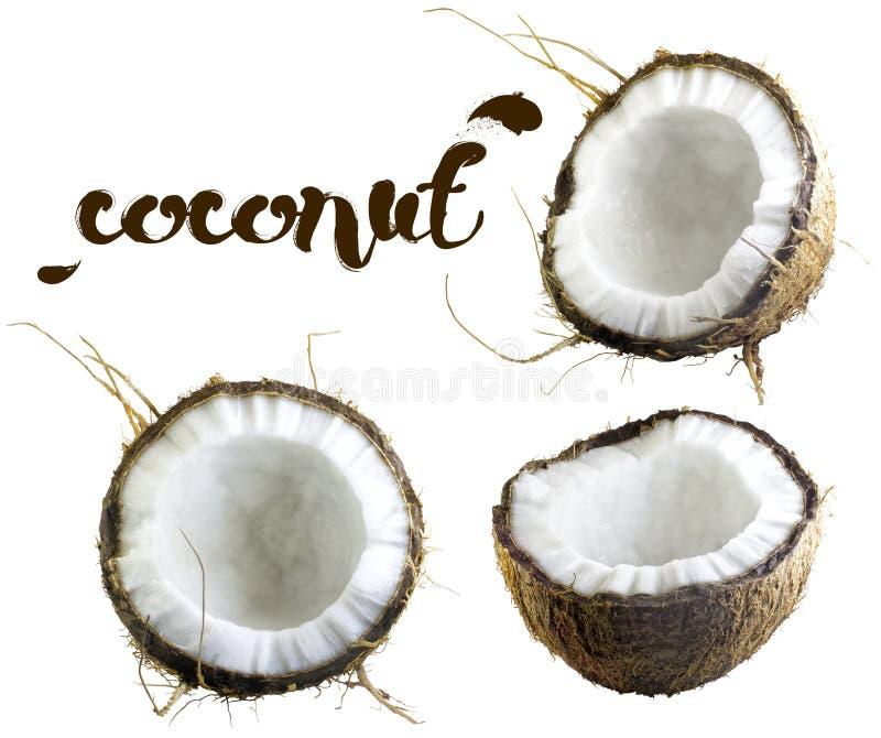 Mitades del coco en un fondo blanco foto de archivo