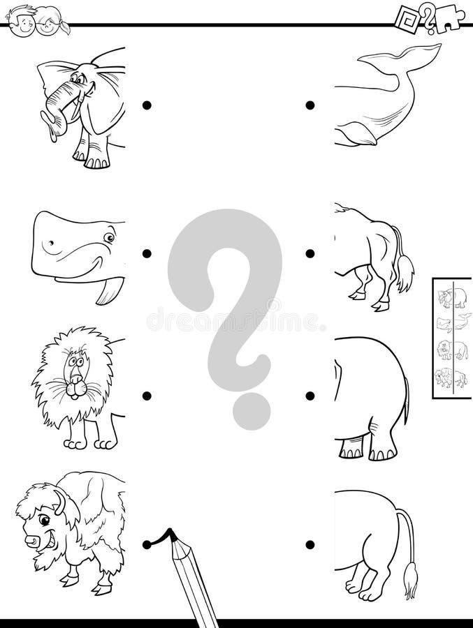 Mitades Del Partido Del Libro De Colorear De Los Animales