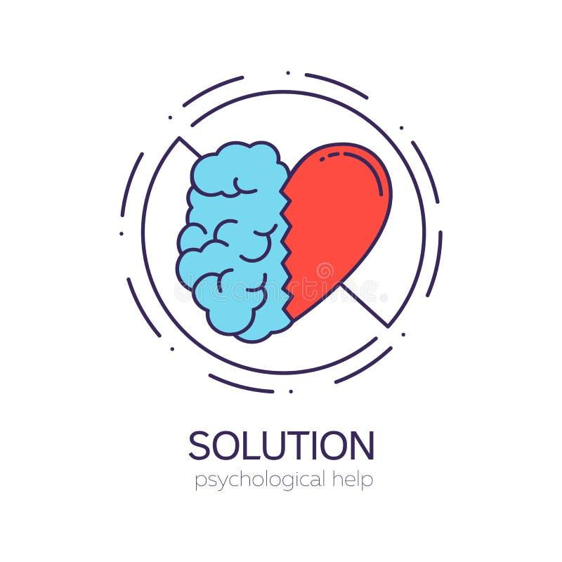 Mitades unidas del cerebro y del corazón Equilibrio entre la inteligencia y las emociones ilustración del vector