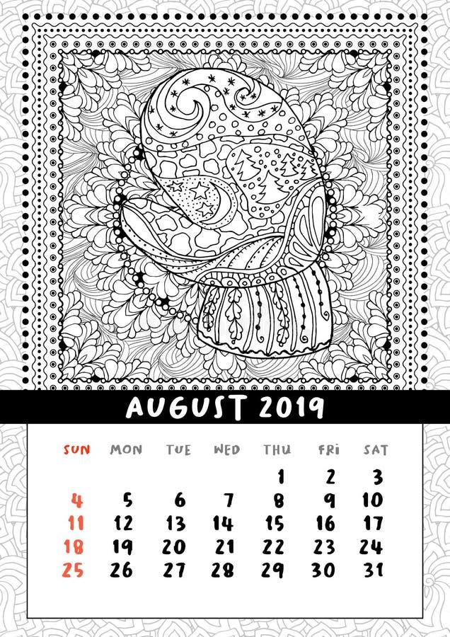 Mitaine avec le modèle de griffonnage de paysage, calendrier en août 2019 illustration de vecteur