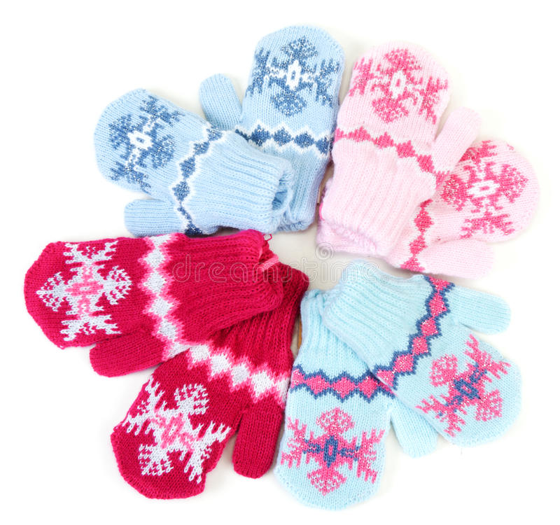 Mitaines tricotées par chéri avec la configuration photos libres de droits