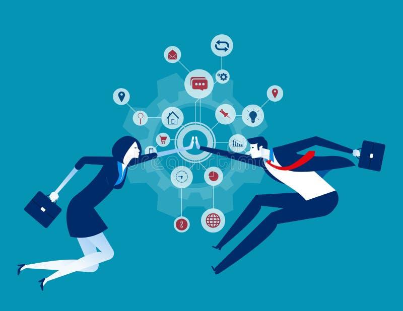 mitarbeit. Organisationskooperation. Konzepte zur Darstellung von Geschäftsfeldern, Teamwork, Partner vektor abbildung