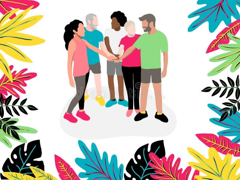 Mitarbeiter halten Hände zwischen Zusammenarbeit und Kollegen, vor dem Beginnen der Arbeit zum Gedanklich lösen, verstärken Verhä lizenzfreie abbildung