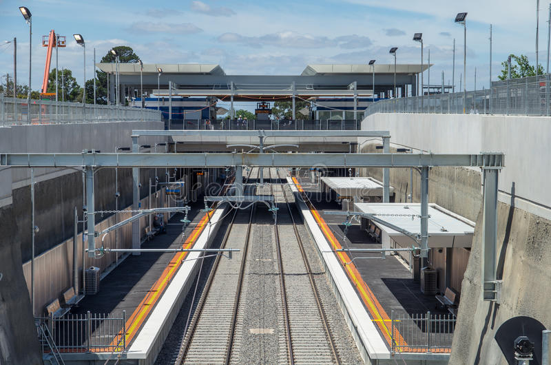 Mitcham railway station. In eastern suburban Melbourne, Australia. This train station was completed in January 2014 and this photo was taken on 25 January 2014 royalty free stock images