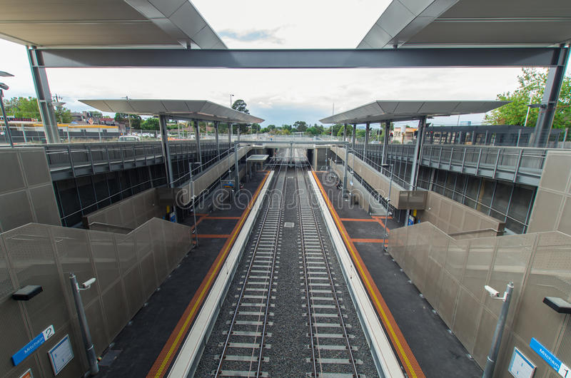 Mitcham railway station. Melbourne, Australia – February 15, 2014: Mitcham railway station, newly opened in January 2014 in the Melbourne eastern suburb stock image