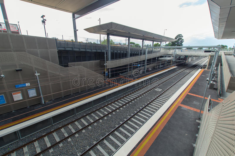 Mitcham railway station. Melbourne, Australia – February 15, 2014: Mitcham railway station, newly opened in January 2014 in the Melbourne eastern suburb royalty free stock photo