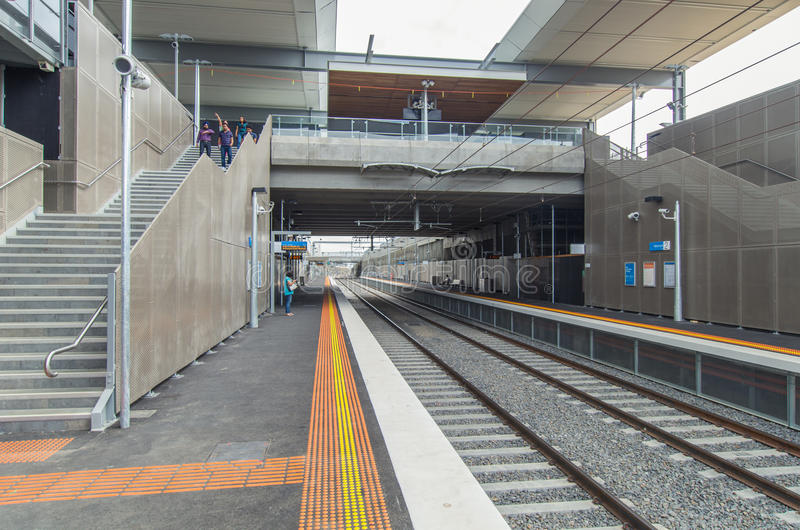 Mitcham railway station. Melbourne, Australia – February 15, 2014: Mitcham railway station, newly opened in January 2014 in the Melbourne eastern suburb stock photography
